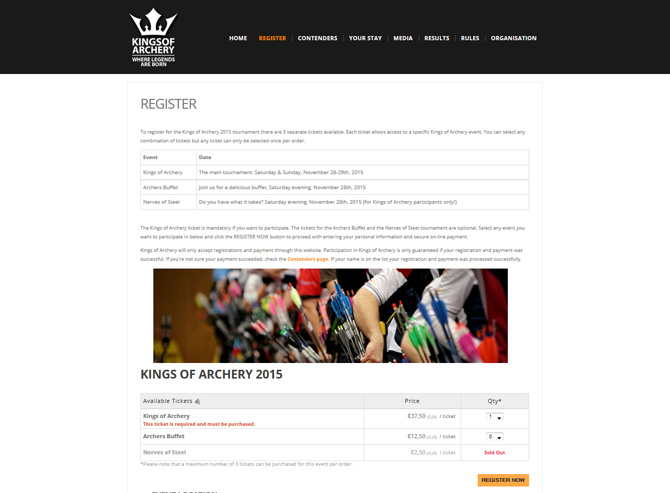 Website Kings of Archery